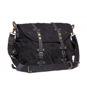 black canvas field bag