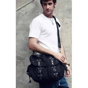 canvas field bag black