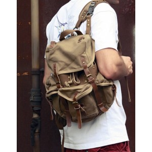 khaki recycled travel pack