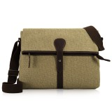 Khaki Canvas Ipad Shoulder Bag