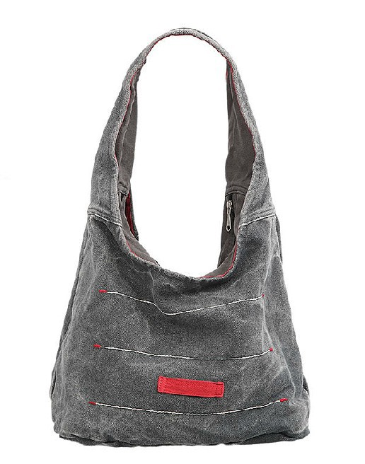 Canvas shoulder tote handbag, canvas zipper bag - BagsEarth