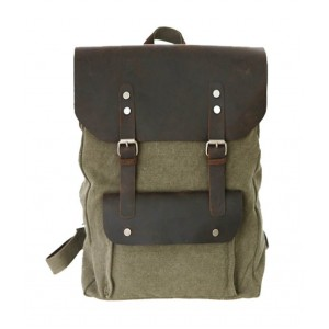 Army green vintage canvas knapsack