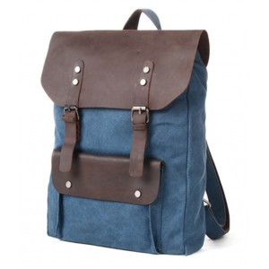 Blue canvas and leather backpack