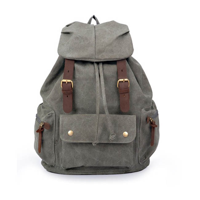 Khaki Waterproof Canvas Rucksack, Army Green School backpack ...