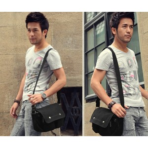 black canvas shoulder bag men