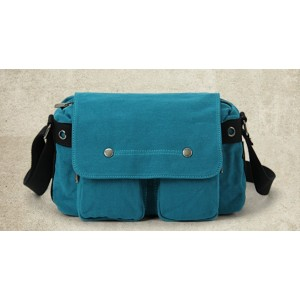 blue Canvas messenger bags for men