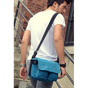 Canvas messenger bags for men blue