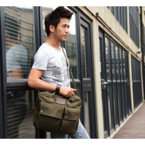 army green canvas briefcase