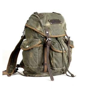 2013 Retro Canvas Backpack, Army Green School Bag