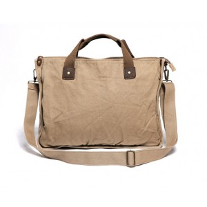 khaki canvas messenger bag