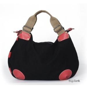 Orange Fashion Canvas Tote Bags, Black Canvas Messenger Bags For Women