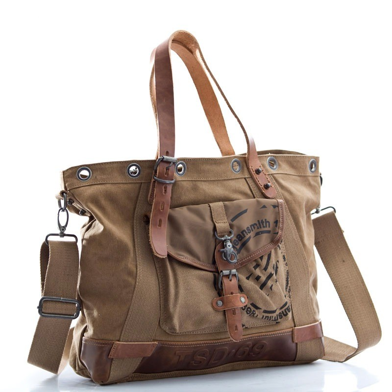 Khaki Canvas Handbag Satchel Bag