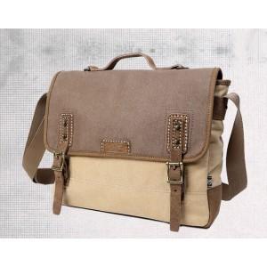 khaki canvas shoulder bags for men