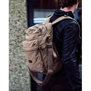 vintage canvas shoulder bag rucksack backpack
