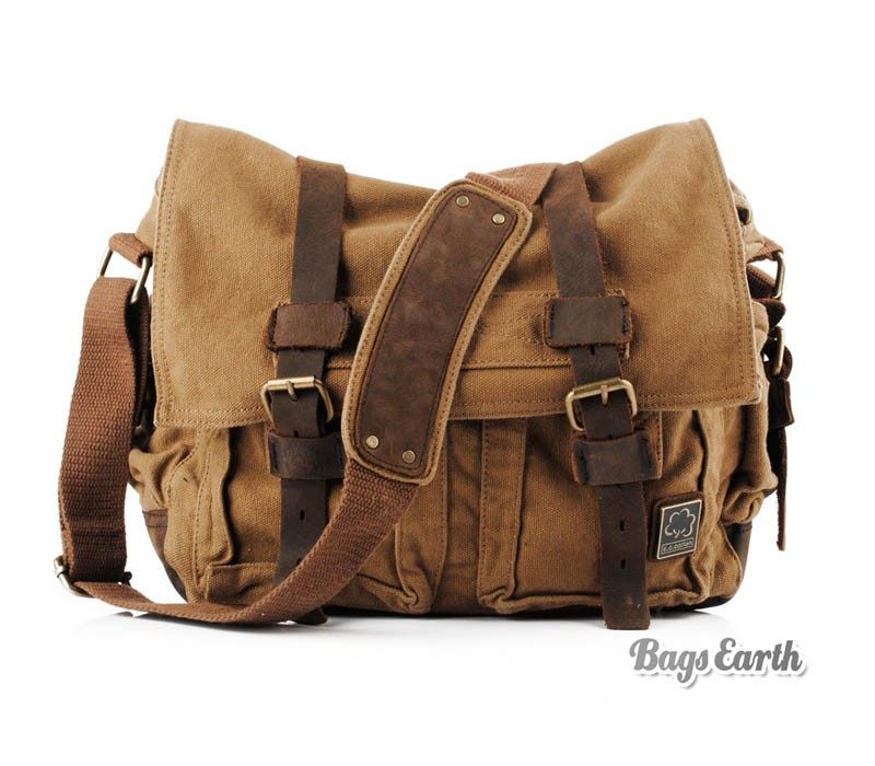 Vintage Canvas Messenger Bag, 15 Inch Laptop Bags Khaki Army Green ...