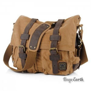 Khaki Vintage Canvas Messenger Bag
