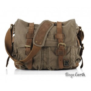 Army Green Vintage Canvas Messenger Bag
