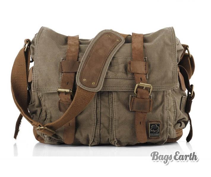 Vintage Canvas Messenger Bag, 15 Inch Laptop Bags Khaki Army Green ...