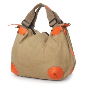 khaki Fashion Canvas Tote Bag