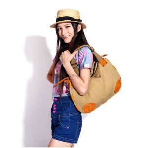 khaki Fashion Canvas Tote Bag For Women