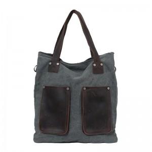 Fashion leather handbag, retro canvas shoulder bags