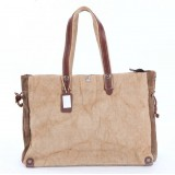 Large Cotton canvas bag, The leather Shoulder handbag