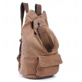 Casual Khaki Canvas Backpack, Genuine Leather Canvas Backpack