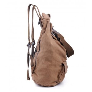 Casual Genuine Leather Canvas Backpack