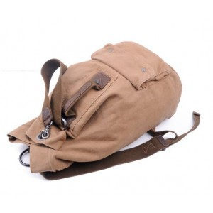 Casual Khaki Leather Canvas Backpack