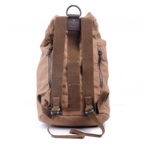 Khaki Leather Canvas Backpack
