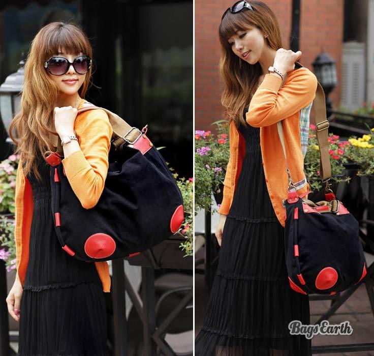Orange Fashion Canvas Tote Bags, Black Canvas Messenger Bags For ...