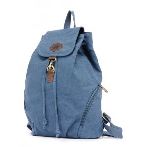blue canvas knapsack backpack