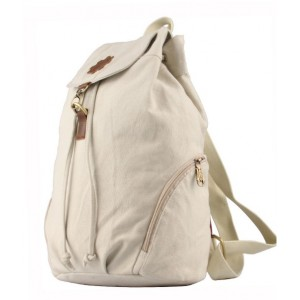 beige canvas knapsack backpack
