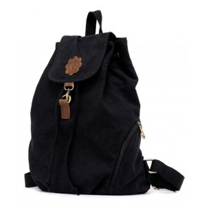 black canvas knapsack backpack