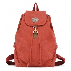 red Vintage canvas rucksack