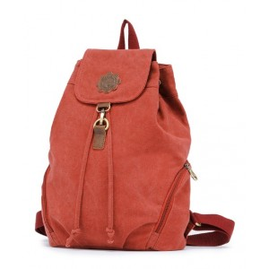 red canvas knapsack backpack