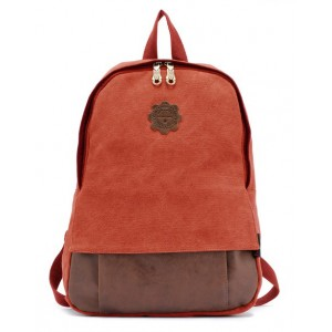 red Vintage canvas backpack for women