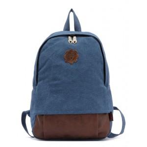 blue Vintage canvas backpack for women