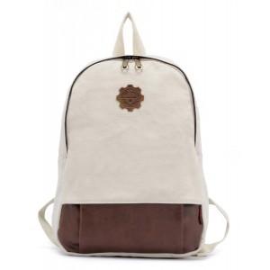 beige Vintage canvas backpack for women