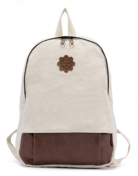 beige vintage canvas backpack for women
