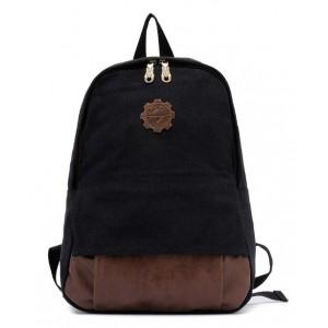 black Vintage canvas backpack for women