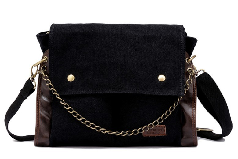 Black canvas messenger bags for women, canvas satchels - BagsEarth