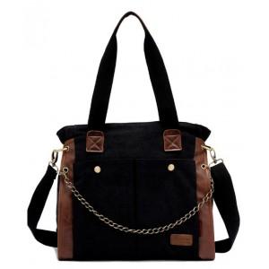 black Canvas shoulder bag women