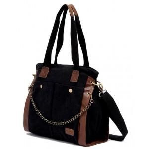 black large canvas messenger bag for women