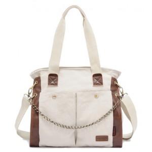 beige Canvas shoulder bag women