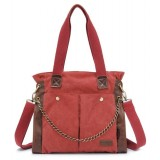 red Canvas shoulder bag women