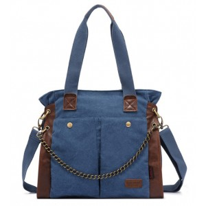 blue Canvas shoulder bag women