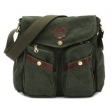 Vintage canvas messenger bag men, black canvas satchels