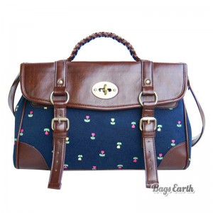 Blue Canvas Satchel Bag