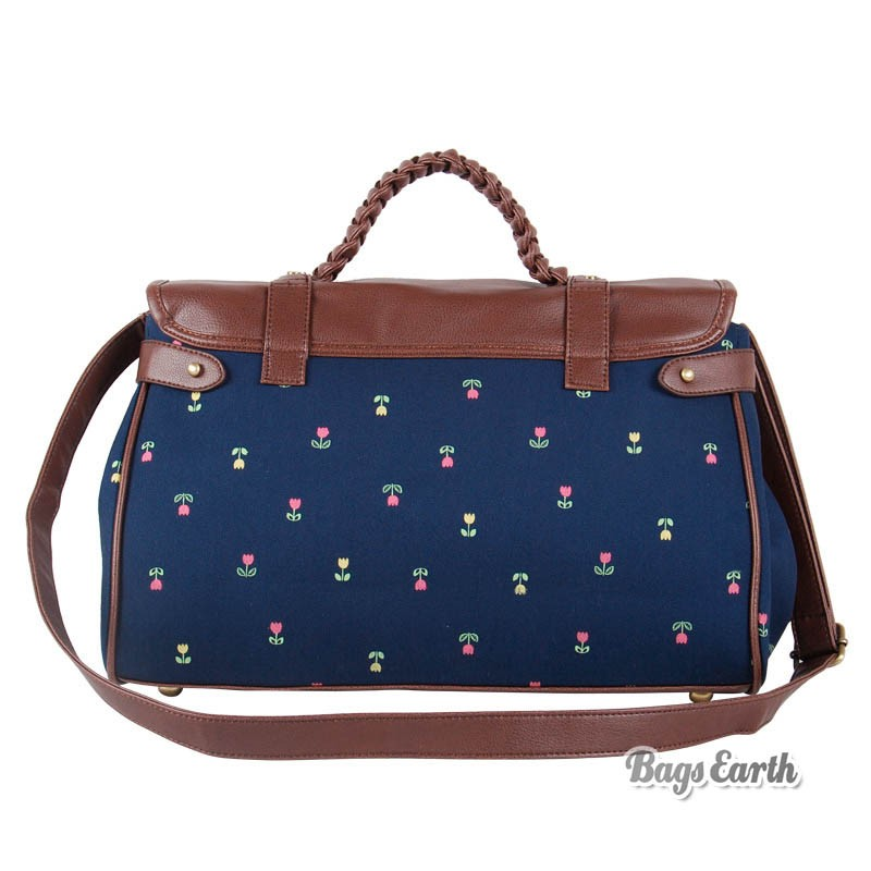 Satchel Bag Blue Canvas Messenger